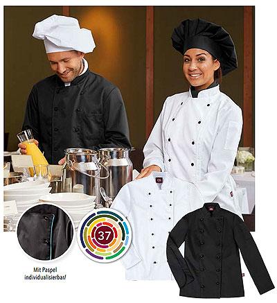 Passen Sie die Kochjacke aus 37 Farben Ihren Unternehmensfarben an, für einheitliches Auftreten Ihrer Mitarbeiter