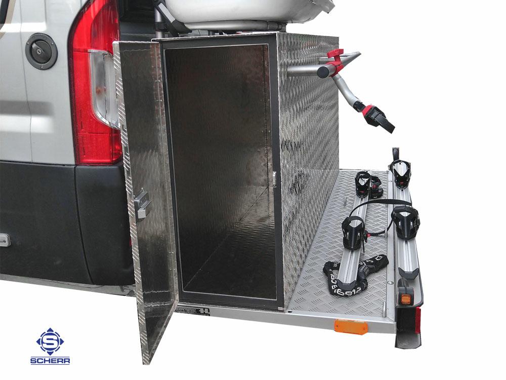 Aluboxen als Heckbox für das Wohnmobil, eine ideale Stauraum Ergänzung für alle Wohnwage und Wohnmobil Heck - Plattformen