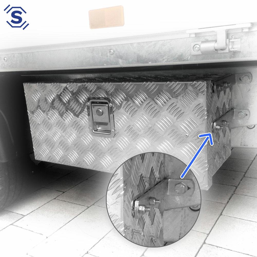 Unsere LKW Stauboxen sind mit mit einem abschließbaren Griffplattenschloß ausgestattet, inkl. 2 Schlüssel für Ihre LKW Unterflur Aluboxen