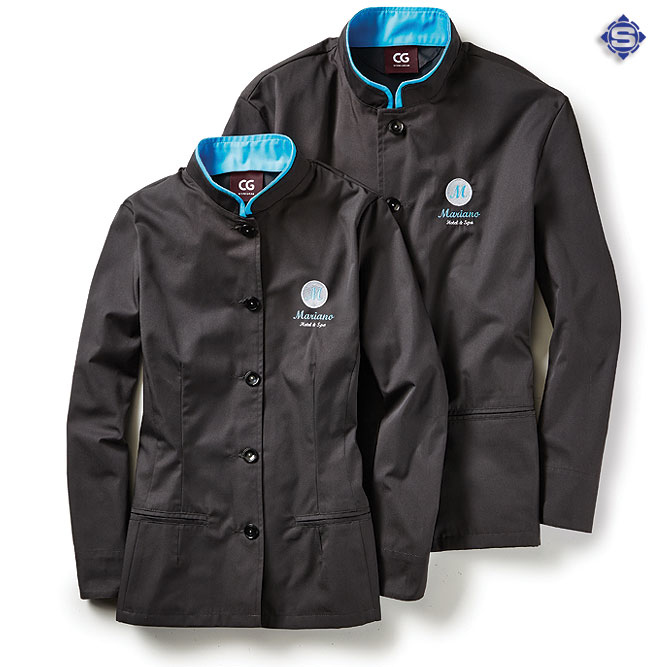 Arbeitsjacken für Hotel / Gastronomie, für jeden Arbeitsbereich, passen Sie dabei die Krageninnfarbe ihren Firmenfarben an.